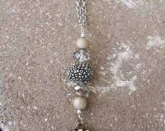 Diamond Studded Burlap Necklace