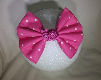 Pink Dot Lady Bug Hair Bow - Small
