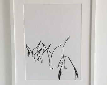 Original abstract drawing of a line of penguins 5