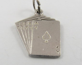Royal Flush Poker Hand Silver Charm of Pendant.