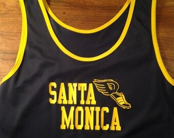 Vintage Santa Monica High School Women's Track Tank Top -- Like New, Silky Nylon -- Medium -- 1980s Ladies Sportswear