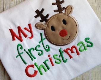 Cute!! My First Christmas Reindeer Boy Applique Embroidery Onesie!