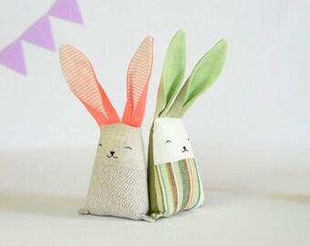 Summer Rabbit - Bunny Rabbit - Pastel Baby Shower Gift - Baby Twins Toys - photo prop -  Kids gifts basket