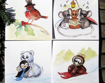 Pack of 4 Cute Christmas cards, Beautiful cards, Animal Christmas Cards, Illustrated greetings Cards, Cute Cards, festive cards, Christmas