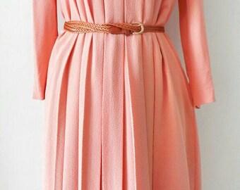 40's Vintage Salmon A Shape / Vintage Japanese Dress/ Vintage Dress / Rockabilly Dress / Women Dress / Medium