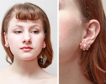 Vintage Screw Back Earrings/Pink Pearly Beads
