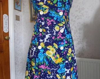 Bright floral 60s cotton sundress by 'Annelie', mod, retro, medium size