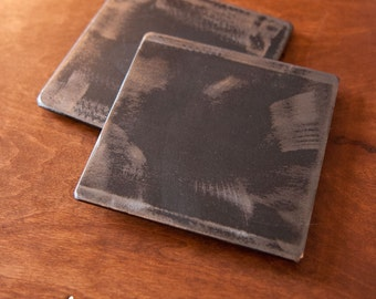"Beautiful Industrial 4"" Steel Coasters - Set of 4 with holder"