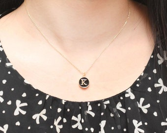 Black Round Initial Necklace, Alphabet Necklace, Custom Necklace, Letter Necklace, Cute Gift, Gold Plated Necklace, Simple Necklace