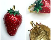 Vintage 1980s Enamel Strawberry Brooch Pendant | 80s Large Red Green Berry Fruit Pin Gold Tone Retro Necklace Jewelry Signed Saxon