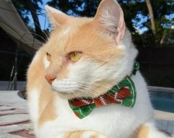 Football cat bow tie, cat collar, football bow tie cat collar, cat collar bow tie, kitten bow tie collar, sports cat costume, cat collar