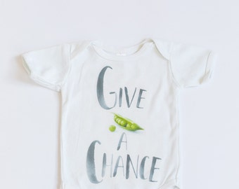 Give Peas A Chance, kids clothing, baby onesie, maxandmaekids, max and mae