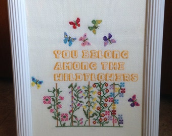 "Wildflower (Handmade Cross-Stitch in 10 x 12"" Recycled Glass Frame)"