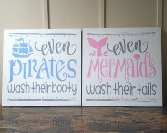 "Even Mermaids Wash Their Tales Even Pirates Wash Their Booty wood signs in white 12"" x 12"" kids bathroom funny art nautical sign wall art"