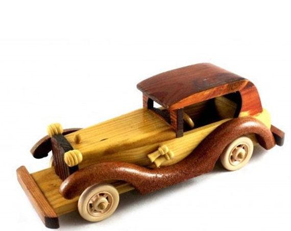 Handmade Toy Car Holder : Wooden toy retro car handmade wood vehicle