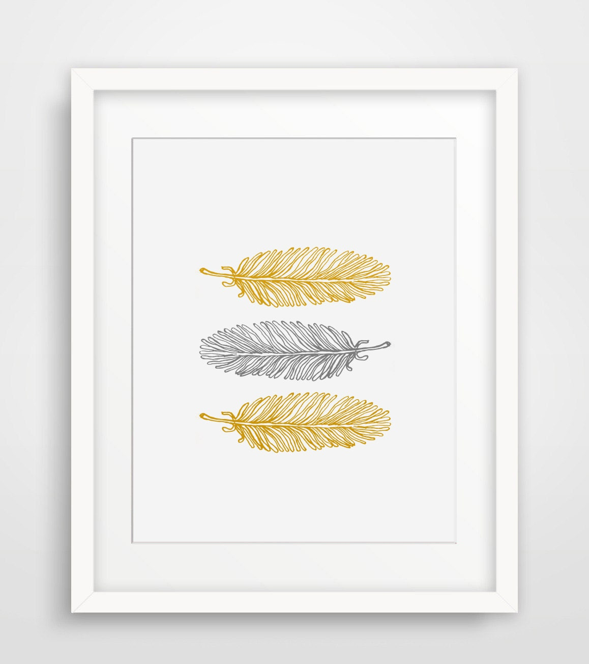 Feathers mustard yellow and grey modern home decor printable for Home decor yellow