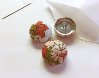 """3/4"""" Fabric Covered Buttons {Set of 3}, Fabric Buttons, Cover Buttons, Handmade Fabric Buttons, Floral, Orange, Bone, Medium Buttons"""