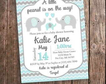 Elephant Baby Shower Invitation - Baby Blue and Gray Chevron - Gender Neutral - Aqua and Gray Customized Invitations - Personalized Invites