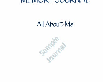 Memory Journal & Journal Prompts- All About ME Journal, Personal History Diary, Printable, Instant Download