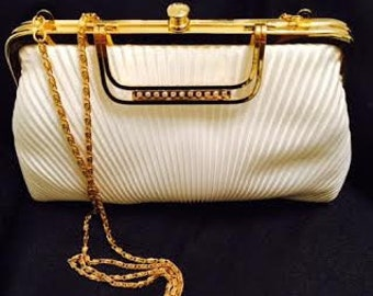White Satin Pleated Clutch Handbag w/Rhinestone Bar Handle