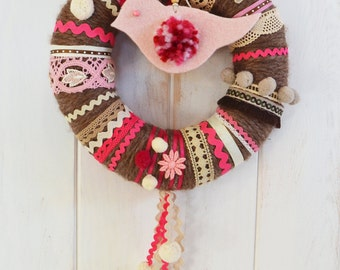 Crown of wool in shades of pink and Brown / pink & brown wool wreath