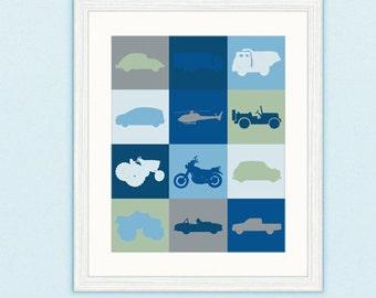 Vehicle Digital Easy Peasy Print Boy Nursery Room Print