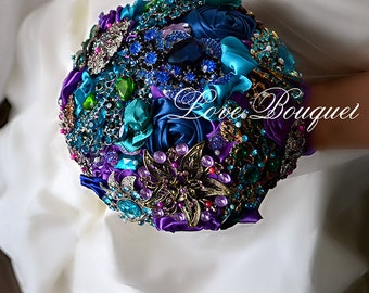 SALE! Wedding bouquet, Teal bouquet, Bridal bouquet, Bride bouquet, Blue bouquet, Brooch bouquet, Purple bouquet, Heirloom wedding bouquet