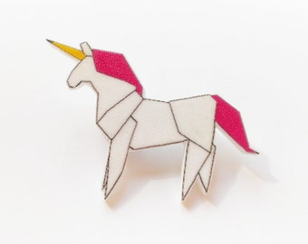 Origami Unicorn brooch