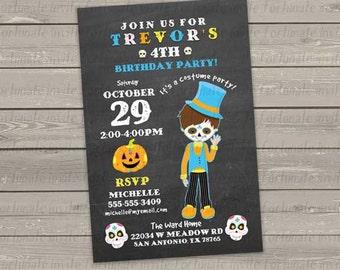 halloween birthday invitation, printable kids birthday costume party invitation, boy day of the dead invitation