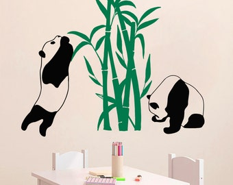 Wall Decal Panda Pandas Bamboo Bear Animal Vinyl Sticker Home Décor Bedroom Nursery Room Living Room Murals M18