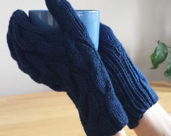 Hand Knit Mittens. Cable Knit Mittens. Colourful Navy Blue Mittens.