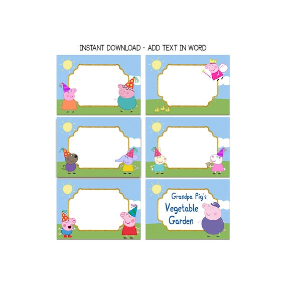 peppa pig food tent birthday party food tents food labels