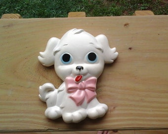 Chalkware Puppy, White Dog with Pink Bow, 1972 Miller Studio Inc.