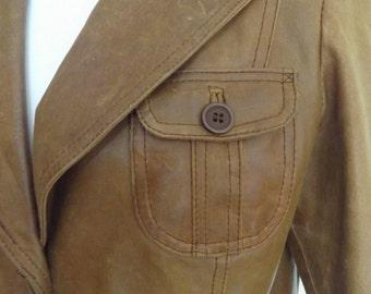 vintage 70s leather jacket small 8 10 hippie boho