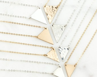 Triangle Necklace, Gold Dainty Necklace in 14k Gold Fill, Sterling Silver, or 14k Rose Gold Fill / Geometric Necklace, GN136_09, GN136_12