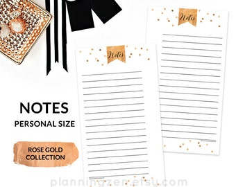 Rose Gold Printable Personal Planner NOTES Inserts PERSONAL Size - Rose Gold Collection