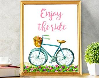 Bike Print, Enjoy the Ride, Nursery Bike, Bike Wall Art, Enjoy the Ride Bike, Wall Art Bicycle, Enjoy The Ride Print, Bike Art Quote Print