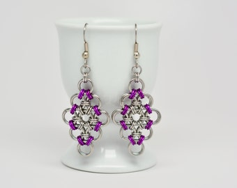 Japanese Diamond Earrings in Stainless Steel and Violet Anodized Aluminum