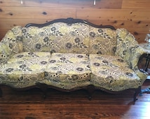 Vintage Couch, Sofa, Duncan Phyfe, Shabby Chuc Furniture, Farmhouse Decor, Green Sofa, Floral Sofa