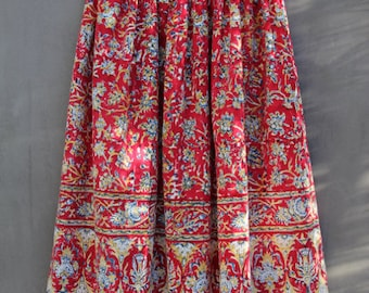 vintage india cotton gauze mid-length skirt