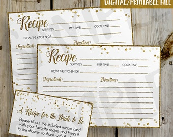 PRINTABLE Gold Glitter Confetti Bridal Shower Recipe Card -  DIY Instant Download Recipe Card Digital File - Shower Invitation Enclosure