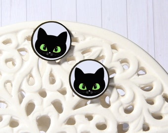 Cat decoupage earrings, cat earrings, decoupage earrings, stud earrings, stud cats, cat face earrings, black cat studs