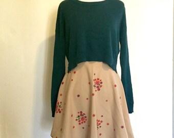 Vintage 1970s Beige Floral Mini Skirt
