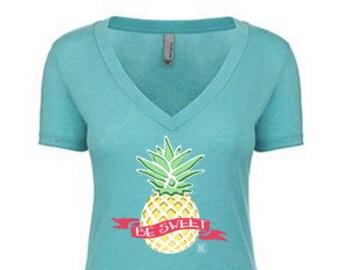 Pineapple BE Sweet Tahiti Blue V-neck Tee