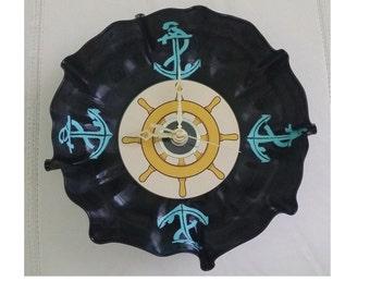Repurposed Anchor Record Bowl Clock