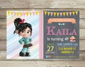 Little Vanellope birthday invitation,rompe ralph invite, card ,vanellope party printable,vanellope Birthday Invitation, first birthday,