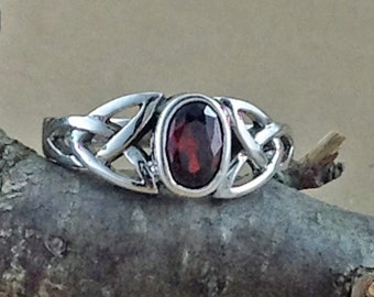 Garnet Ring~Sterling Silver Celtic Garnet Ring~Garnet Silver Celtic Ring~Celtic Ring~Promise Ring~January Birthstone~Birthstone Jewelry