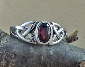 Garnet Ring~Sterling Silver Celtic Garnet Ring~Garnet Silver Celtic Ring~Celtic Ring~Promise Ring~January Birthstone~Birthstone Jewelry