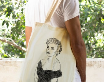 Madonna Printed Tote Bag, Cool shopping Bag, Canvas Tote Bag, Cotton Vegan Shopping Bag, bohemian tote bag, Women's boho shoulder bag