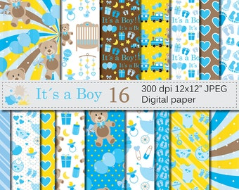 Its a Boy Digital Paper Set, Baby Boy Blue Digital Papers, Baby Shower Scrapbook Papers, Nursery Digital Paper, Instant Download